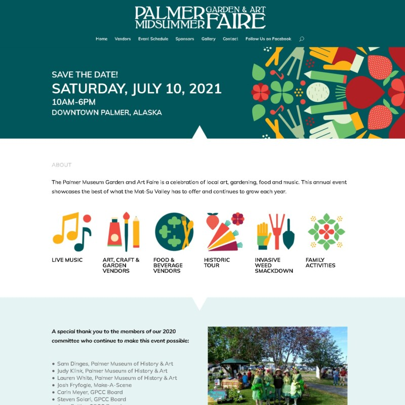 2021 Palmer Midsummer Garden & Art Faire website design