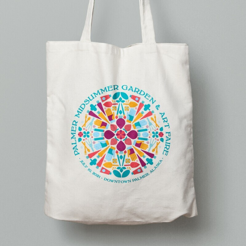 2021 Palmer Midsummer Garden & Art Faire tote bag design with cool colors