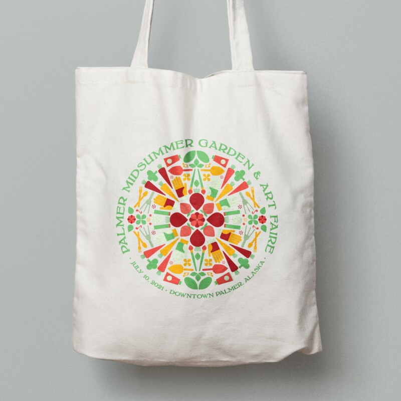 2021 Palmer Midsummer Garden & Art Faire tote bag design with warm colors