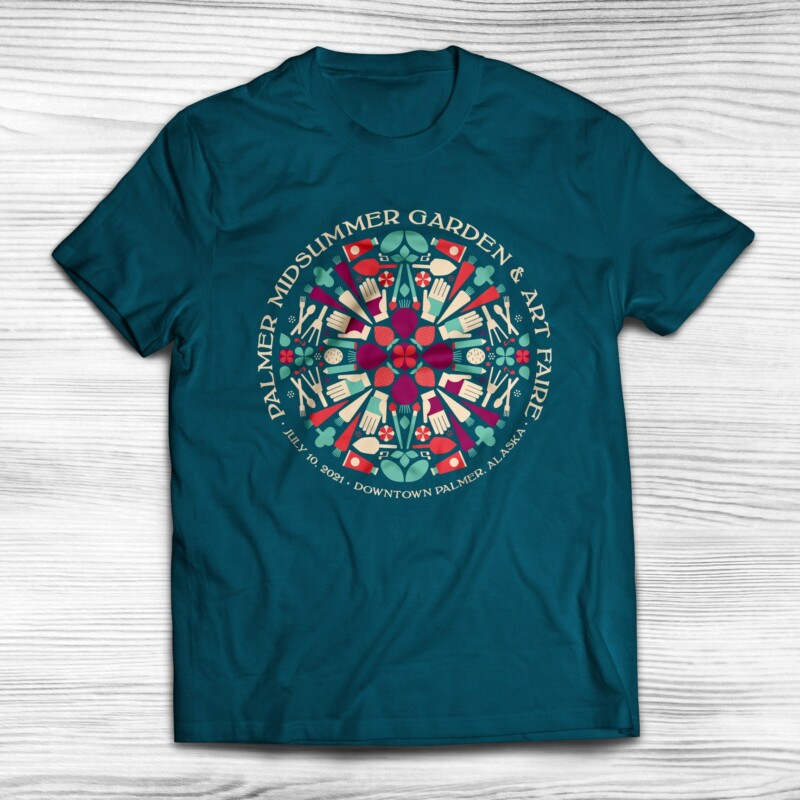 2021 Palmer Midsummer Garden & Art Faire shirt design with 4 colors