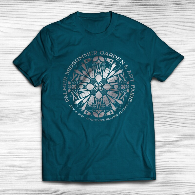 2021 Palmer Midsummer Garden & Art Faire shirt design with metallic print