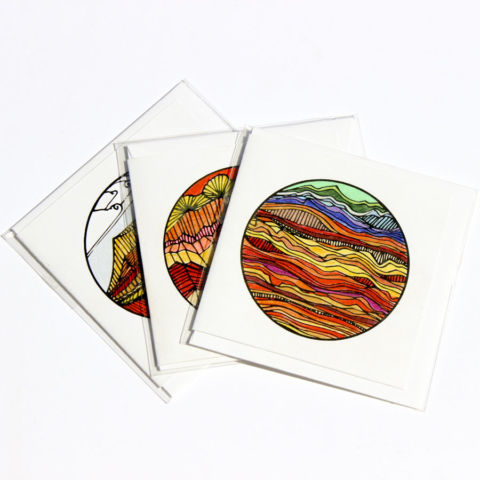 Tiny cards: botanical and desert landscapes
