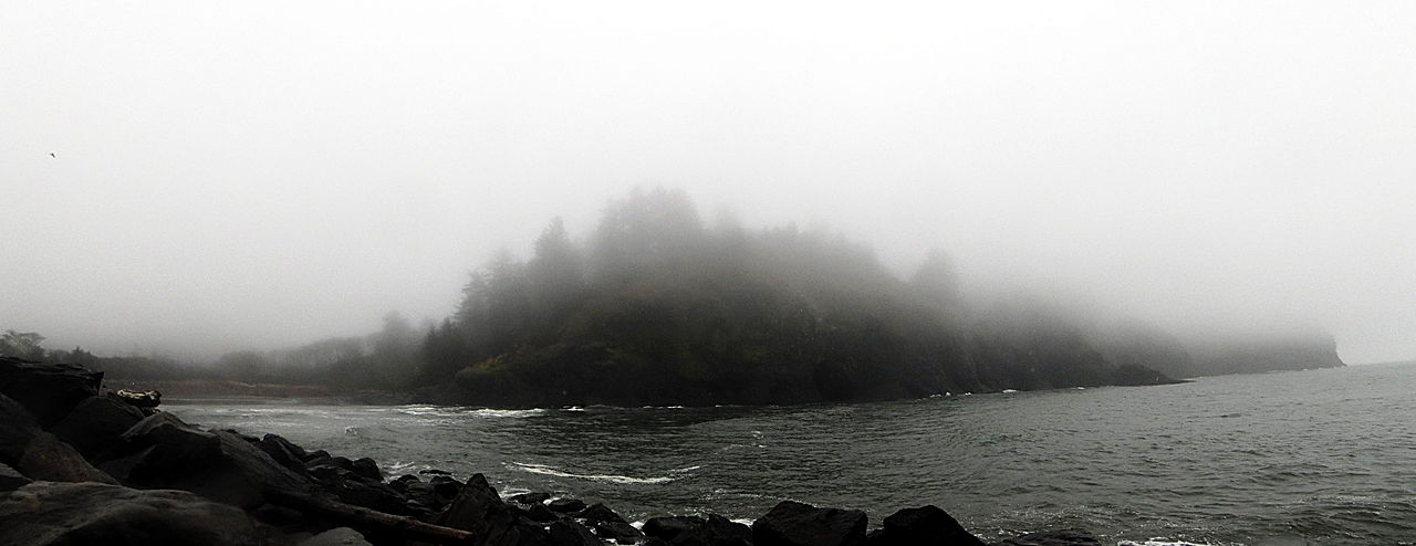 Cape Disappointment in the fog, Washington, USA
